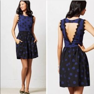 Anthro Black Blue Polka Dots Open Back Dress